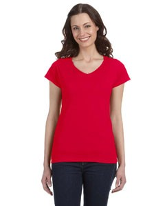 G64VL Gildan Ladies' SoftStyle® 7.5 oz./lin. yd. Fitted V-Neck T-Shirt 12-24 pcs